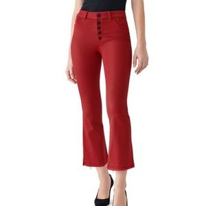Dl1961 Bridget cropped red coated pants